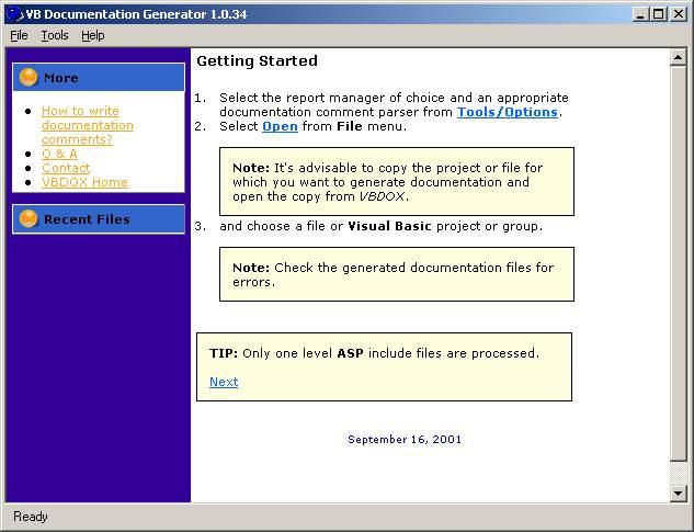 VBDOX - Visual Basic Documentation Generator